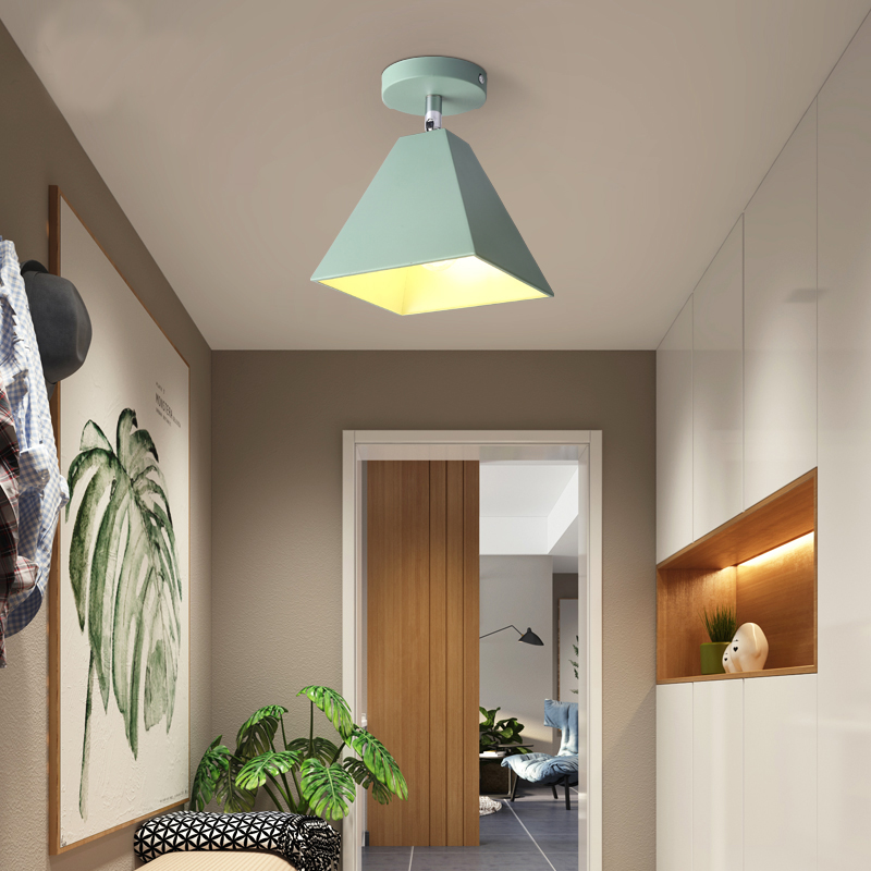 Nordic aisle corridor entrance balcony creative background wall led spotlight macarons E27 matte paint lamp(free send bulb)