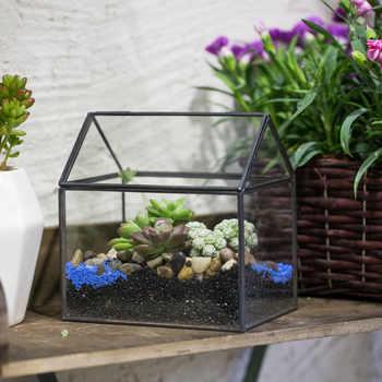 เรขาคณิตสีดำทองแดงบ้านรูปร่างขนาดเล็กT Errariumชาวไร่กระถางดอกไม้แจกันพืชฉ่ำสวนตกแต่งแก้วสวนขวด