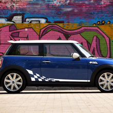 2x Car Styling Racing Lattice Door Side Stripes Skirt Body Decal Sticker For MINI Cooper R50 R52 R53 R56 F56 R60 Accessories 2pcs set door rear view mirrors cover case sticker decal car styling for mini cooper one s r50 r52 r53 2002 2006 accessories