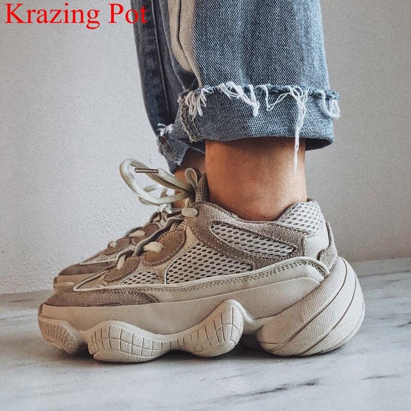 2018 Nouvelle Arrivée En Cuir Véritable Piste Baskets Automne Chaussures Plate-Forme Douce Causalité Fond Épais Marque Femmes Vulcanisé Chaussures L00