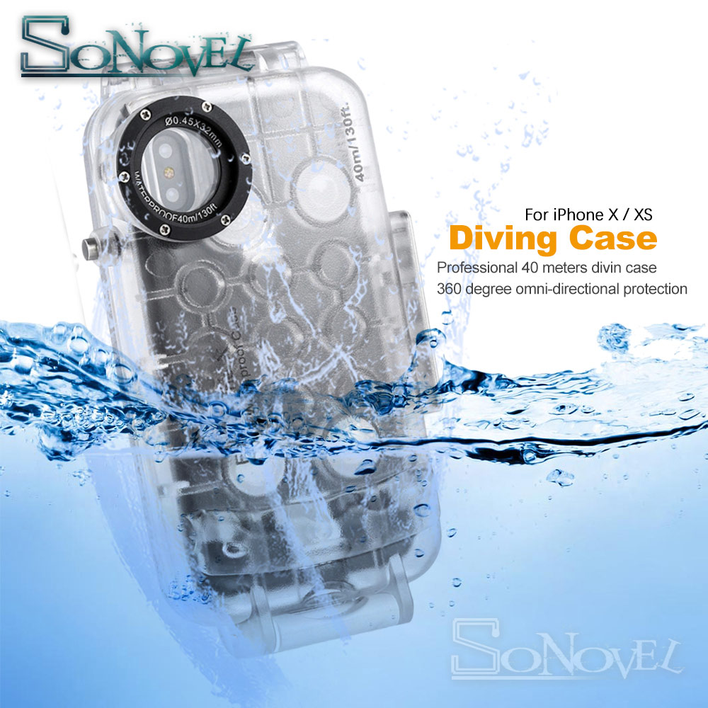 Trend Product  For iPhone XS 40m 130ft Waterproof Underwater Diving Case Camera Housing Case For apple iphone x Un