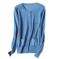 specials wool blend women's spring autumn basics cardigan sweater coat O neck nail beads pockets 5color M/L