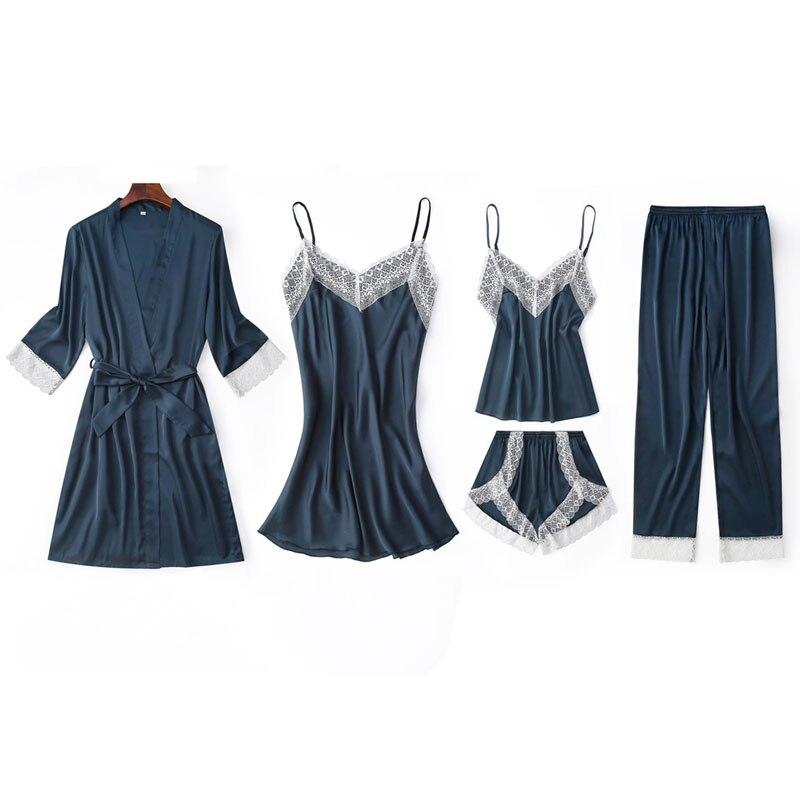 Image 2 - Fiklyc underwear five pieces women's pajamas sets luxury elegant lace & silk patchwork femme pijamas for woman mujer sleepwear-in Pajama Sets from Underwear & Sleepwears
