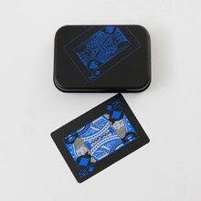 1PCS Metal Box Quality Plastic PVC Poker Waterproof Black Playing Cards Creative Gift Durable Poker