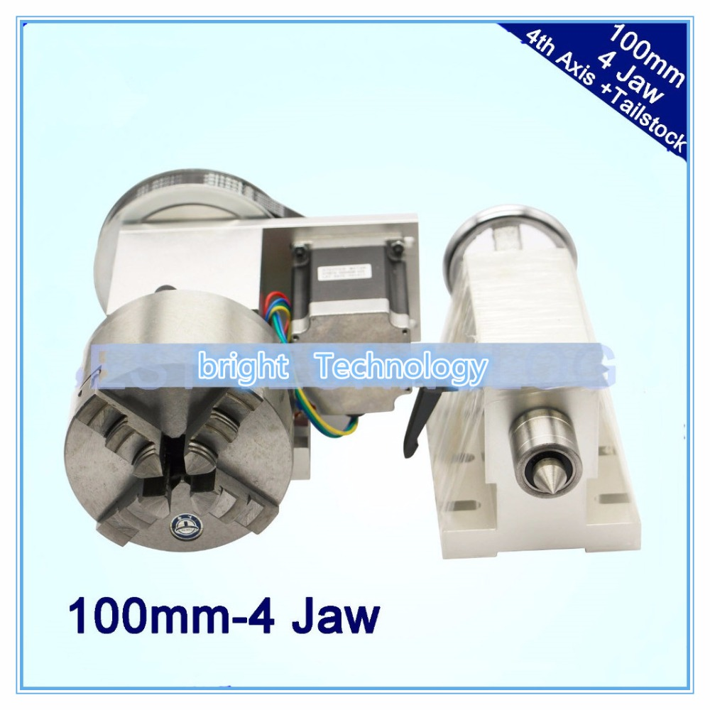 4 Jaw 100mm 4th Axis+Tailstock CNC dividing head Rotation Axis/ A axis kit for Mini CNC router/engraver wood working engraving er32 chunk cnc 4th axis tailstock cnc dividing head rotation axis a axis kit for mini cnc router engraver woodworking engraving