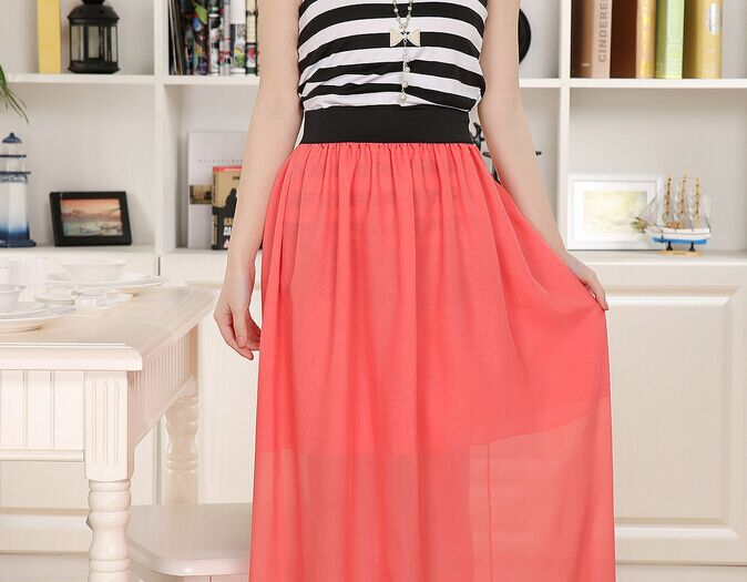 Image 5 - Free Shipping New Brand Designer Hot Sale Candy Colors High Quality Sexy Long Chiffon Skirt Pink Blue Black Red White Green C003-in Skirts from Women's Clothing