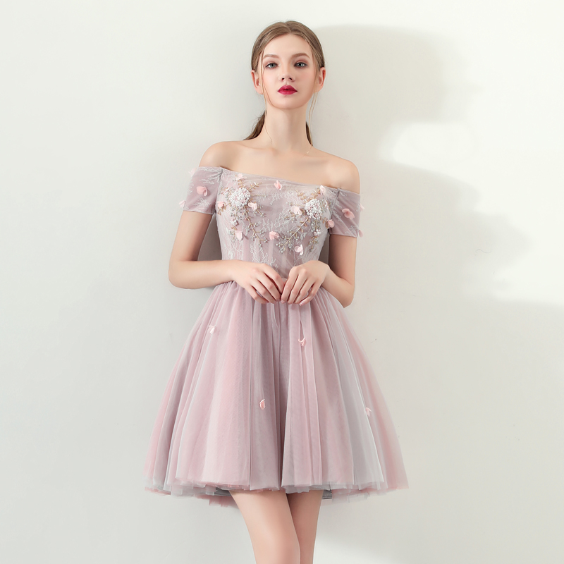 Ssyfashion novos vestidos de cocktail doce rosa