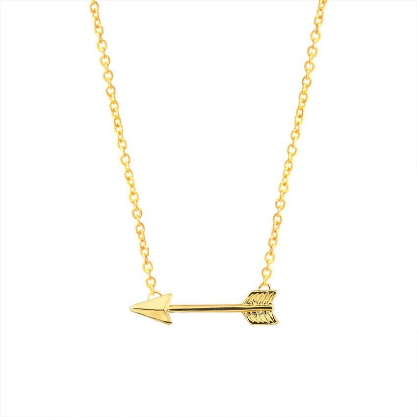 Крошечные Боком стрелка Цепочки и ожерелья дружбы стрел Племенной Ожерелья для мужчин для Для женщин бесконечной любви подарки серебро розовое золото Цвет цепи
