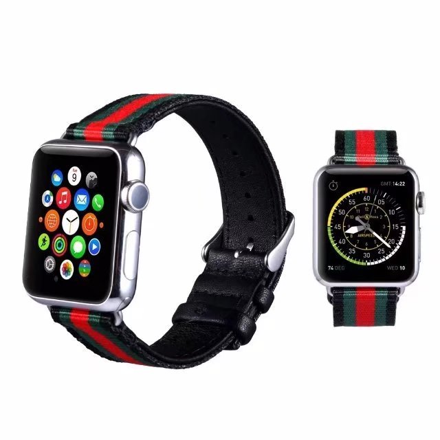 For Apple iWatch Watch Band Striped Nylon+Leather Strap For Apple Watch 38/42mm Watch Belt Bracelet For iWatch Series 1 2 3 woven nylon sports band for apple watch outdoors survival strap belt for 38 42mm iwatch series 1 2 3 men s wrist bracelet i71