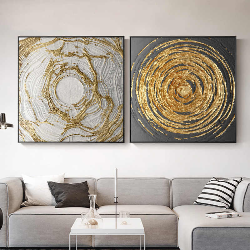 Golden Circles Modern Contemporary Abstract Oil Painting On Canvas Wall Art Pictures For Living Room Home Decor Poster
