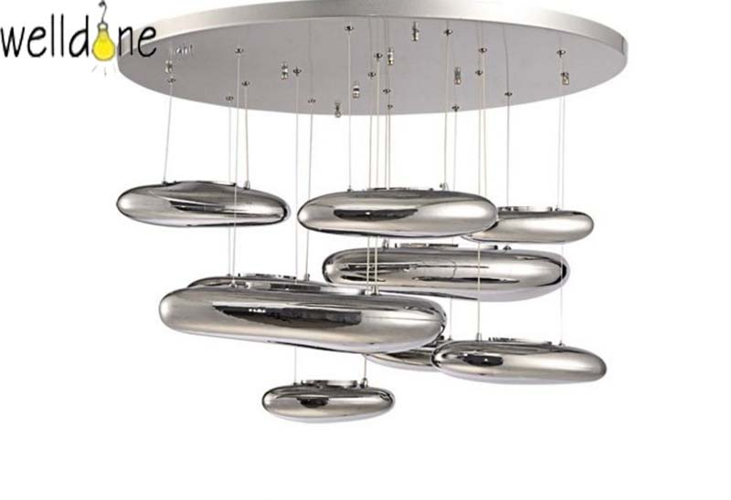 Chrome many large pebbles Luxury Mercury chandelier Water Drops Silver for hotel kitchen bedroom decor suspension lights