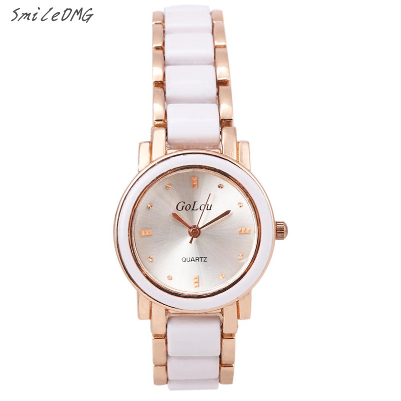 SmileOMG Fashion Casual New Watch Bracelet Wrist Quartz Women Fashion Analog Dial Ceramic Stainless Steel Free Shipping,Sep 30 free shipping kezzi women s ladies watch k840 quartz analog ceramic dress wristwatches gifts bracelet casual waterproof relogio