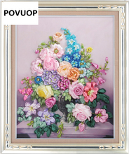 POVUOP New arrival ribbon embroidery 60X50cm fashion flower 3d print cross stitch paintings