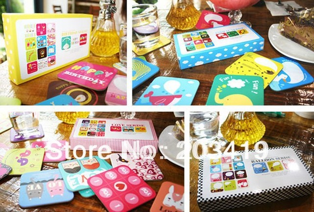 Creative cartoon lovely cute cup mat coaster message paper card random design shipping wholesale retail