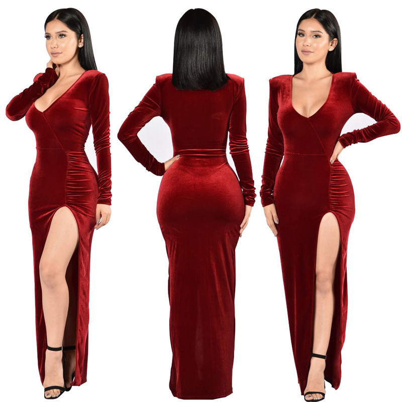 cd555831fb70 New Arrival Women s Solid High Split Red Velvet Dress Bodycon Long Sleeve  Maxi Dress Slim Club Party Long Dress Slit Vestidos-in Dresses from Women s  ...