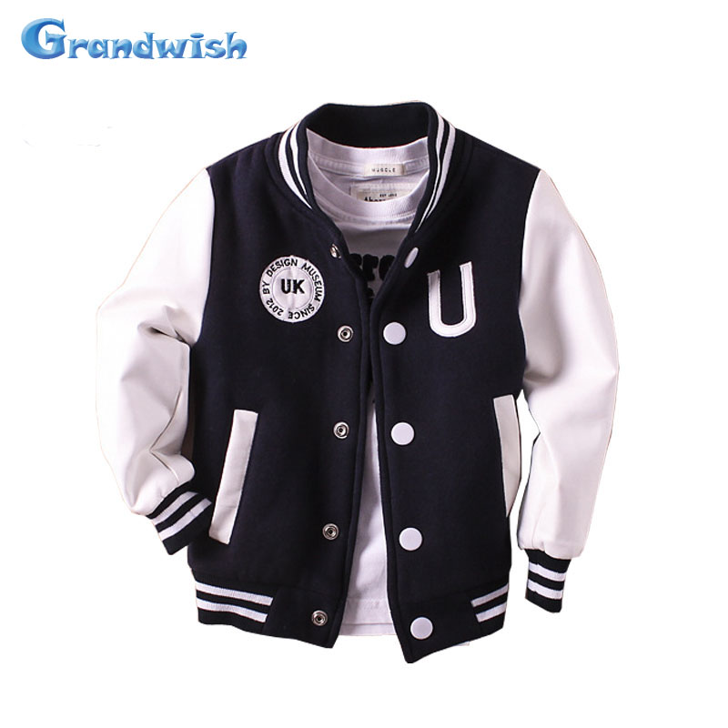 Grandwish Boys Baseball Coats Girls PU Leather Jacket Kids Sports Outerwear Autumn Coat Children Casual Clothes 24M-14T, SC605 ...