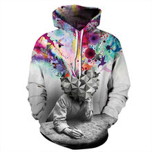 Contrast Color 3D Men/Women Sweatshirt Print Explosion Hoody Pullovers Unisex