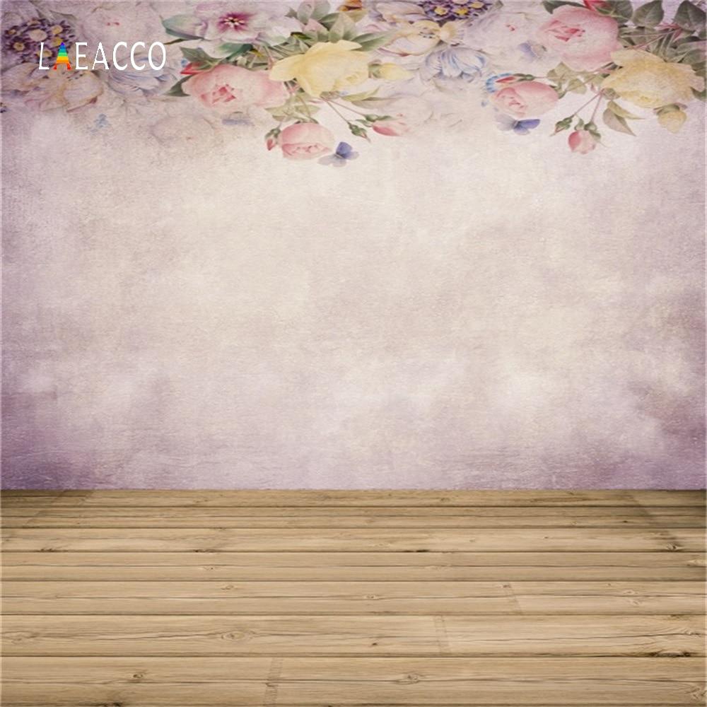 Laeacco flor pintura al óleo pared madera suelo retrato fotografía - Cámara y foto - foto 3