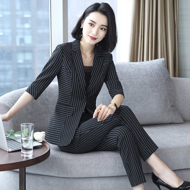 Womens Suit Spring And Autumn New Fashion Slim Temperament Light Cooked Printing Ladies Suit Two-piece Suit Suits & Sets jacket + Pants
