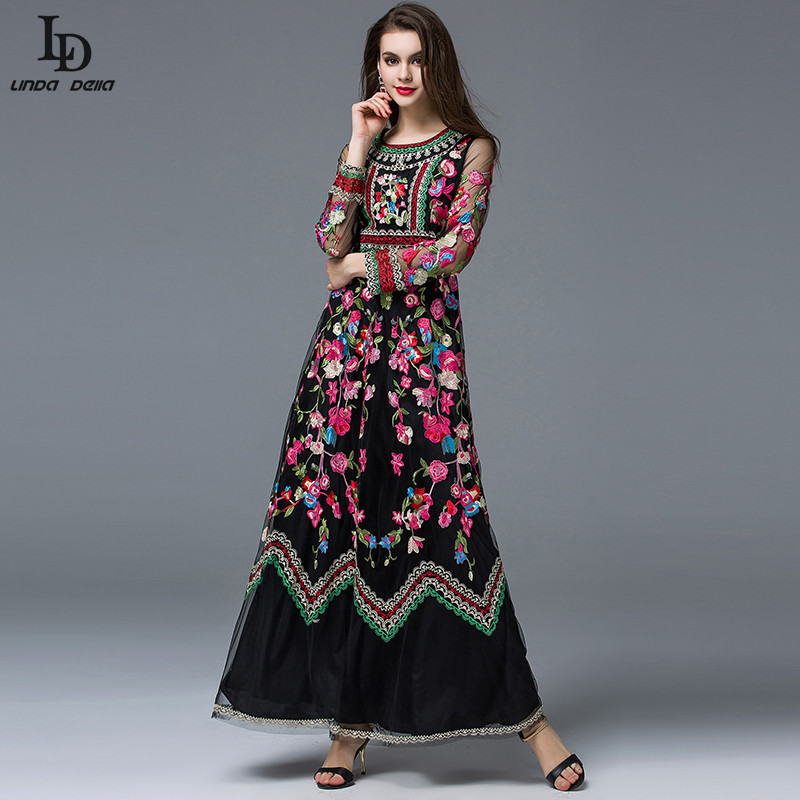 7e8c24e3a5cab US $57.59 28% OFF|LD LINDA DELLA Autumn Winter Runway Designer Maxi Dress  Women's Long sleeve Gauze Retro Noble Floral Embroidery Long Dress-in ...