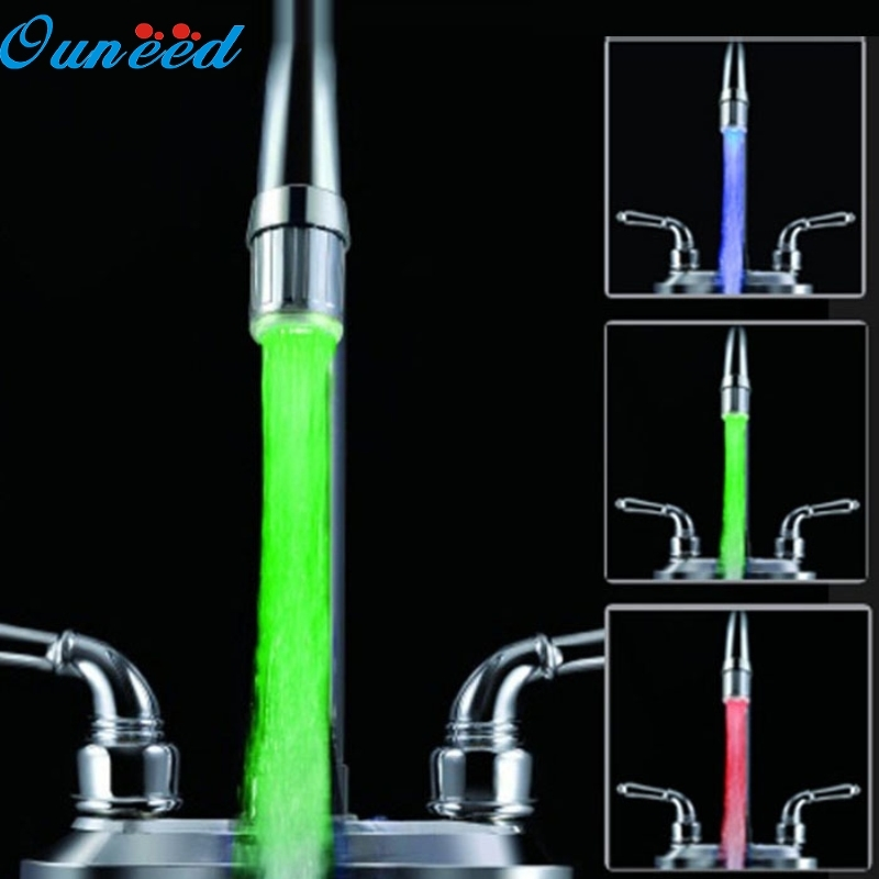 Happy Home 3 Color LED Light Change Faucet Shower Water Tap Temperature Sensor No Battery Happy Gifts High Quality ABS dropship 3 color lotus shaped temperature controlled led light faucet top spray shower head