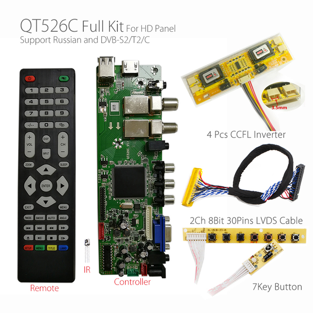 QT526C V1.1 Digital Signal DVB-S2/T2/C ATV LCD Driver Board Dual USB Russian T.S512.69+7Key + 2ch 8bit lvds cable +CCFL inverter