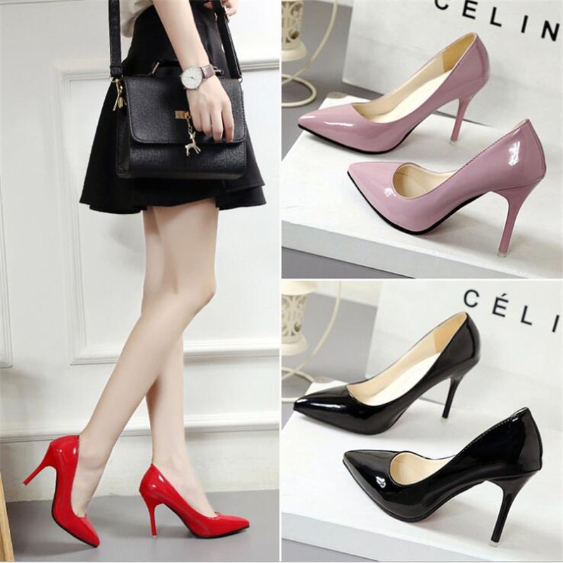 2019 New Fashion Summer Women High-heeled Shoes Mature Style Women Pumps Solid Color Ladies Pumps Slip-On Thin Heels F026