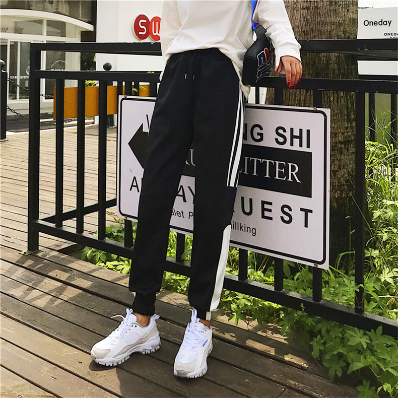 Cargo Pants Women Patchwork Long Pants High Waist Side Striped Black Trousers Student Elastic Waist Harajuku Plus Size Bottoms 63