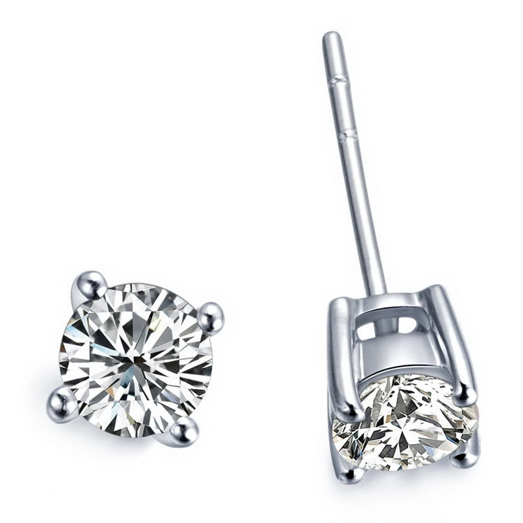 Stud-Earring Diamond Wedding-Jewelry Gold Solitiare White Solid-18k Round Cut Factory