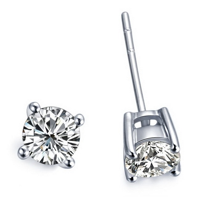 Factory Whole High Quality Guarantee Round Cut Solid 18k White Gold Solitiare Diamond Stud Earring Wedding