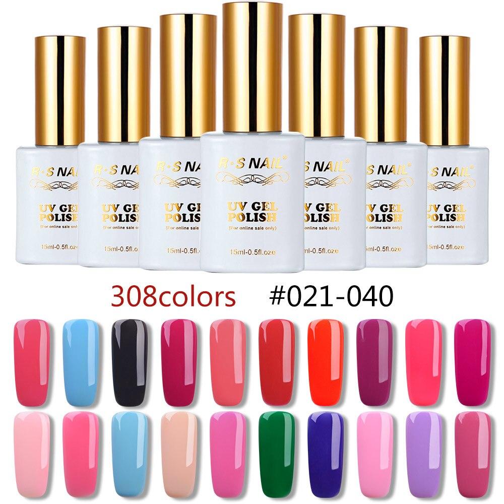 RS 15ml nail gel polish 308 colors gel varnish #021-040   uv led  gel lacquer manicure a set of gel varnishes