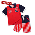 Meney's Boys Summer Clothes Boys Stripe Clothing Sets 2016 Short Pants & Top kids Short-Sleeve Clothes Cotton Children's Sets