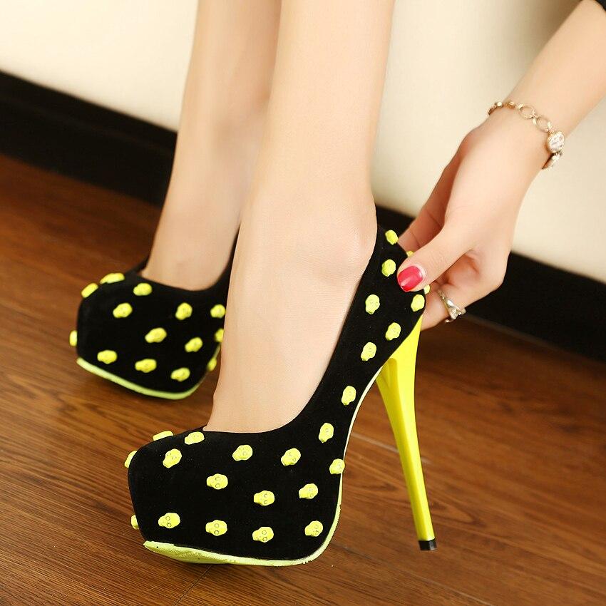 adb2a0ab1a0e9e new 2014 women pumps sexy high heels neon contrast color skull head rivet  thin heels platform shoes. Price