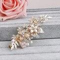 Elegant Golden Clear Crystals Flower and Leaf Freshwater Pearls Wedding Hair Clip Barrettes Bridal Headdress Hair accessories