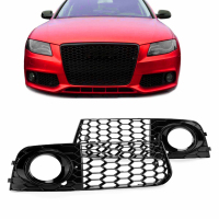 1Pair Fog Light Grills only For 09 12 for Audi A4 B8 RS4 Style Honeycomb Mesh Fog Car Front Bumper Light Grills in Racing Grills
