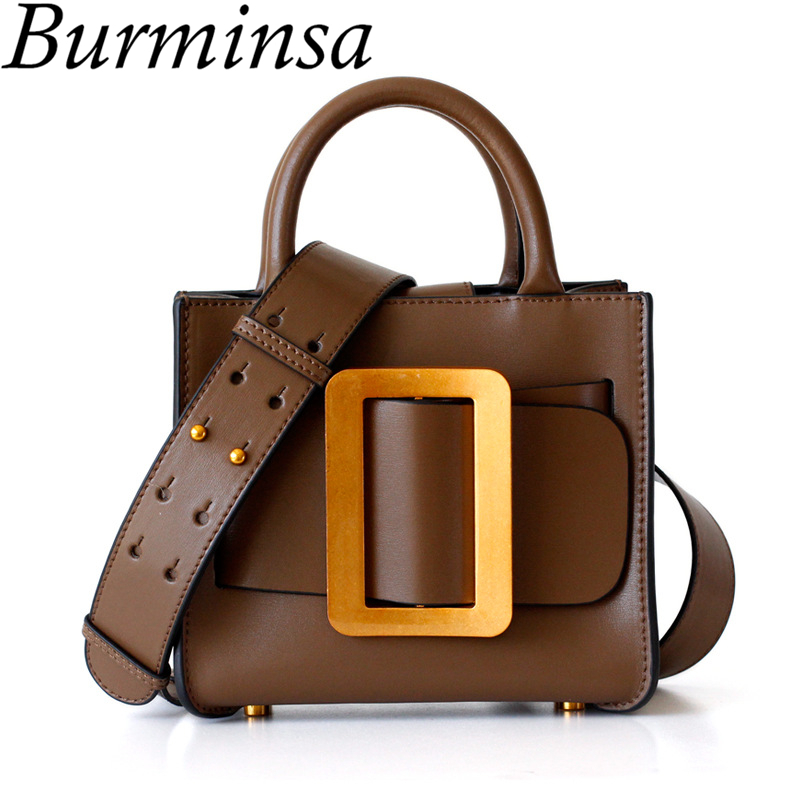 Burminsa Mini Genuine Leather Women Handbags Luxury Wide Strap Shoulder Bags Designer Ladies Purse High Quality