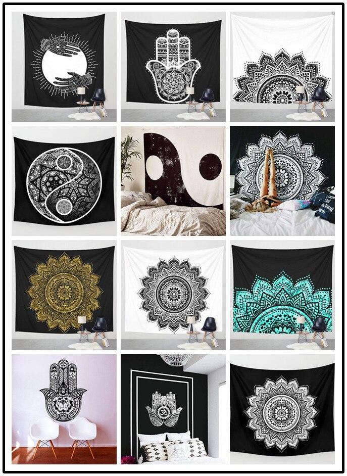 인도 아름다운 만 데라 식물 벽 매달려 장식 인쇄 태피스트리 담요 침대보 요가 매트 테이블 천으로 홈 침구