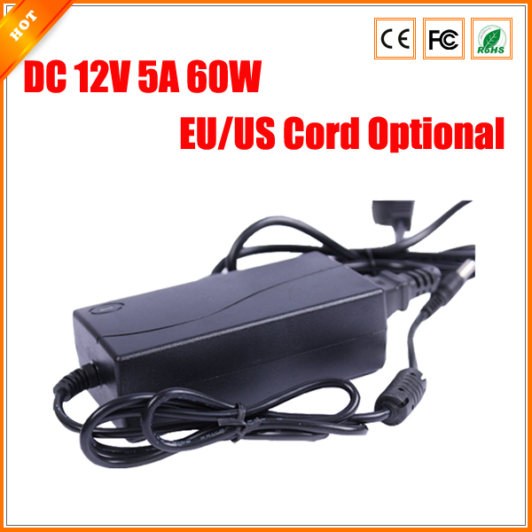 imágenes para Cable Opcional Envío Libre EE. UU. UE DC 12 V 5A 60 W fuente de Alimentación para la Cámara de CCTV Adaptador de Cargador para Sistema de seguridad
