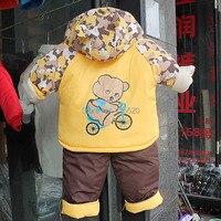 бесплатная shipping_winter мальчики warm_winnie в мягкий костюм дети толщина хлопок одежда для новорожденных set_ и retail_fast доставка