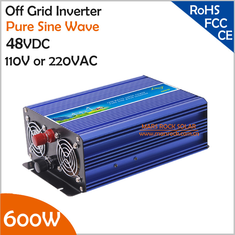 600W 48VDC Off Grid Inverter, Pure Sine Wave Inverter for 110VAC or 220VAC appliances in Solar or Wind System, Surge Power 1200W 300w pure sine wave inverter 48vdc to 110vac 220vac off grid inverter 300w