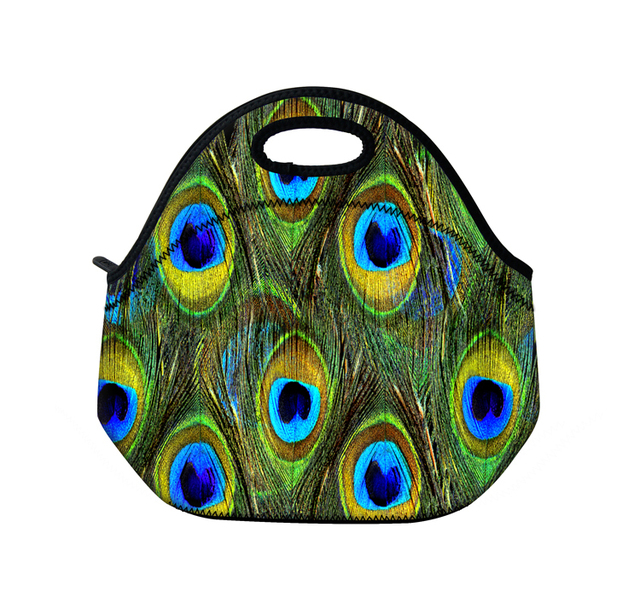 4635ea507d1e US $14.99  Peacock Feather Insulated Thermal Neoprene Lunch Tote Bag  Handbag Outdoor Picnic Travel Lunchbox Waterproof Washable-in Lunch Bags  from ...