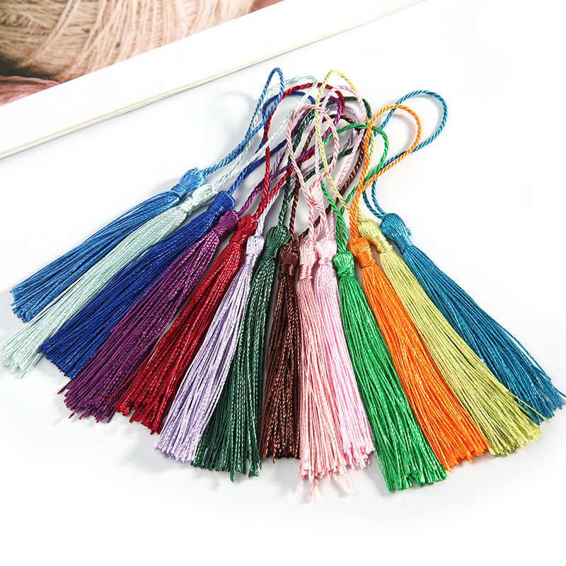 20 piezas multicolores colgante larga cuerda de seda borlas de flecos bolso de costura Trim clave borlas para DIY embellecer Accesorios