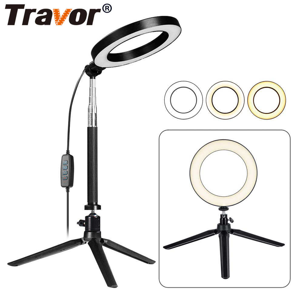 Travor 6 inch LED Ring Light with Stretchable Tripod Stand Light Ring Dimmable Table Circular light for Selfie Makeup youtube