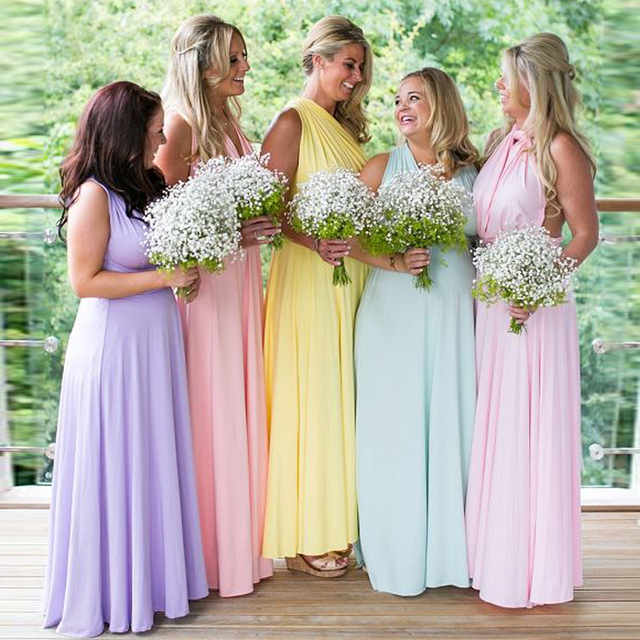 Cheap Convertible Style Sexy Spandex Party Wedding Bridesmaid Dresses  Mint Lilac Pear Pink Dresses for Bridesmaids Vestido RWD05 b537517bb1ee