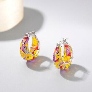 Image 2 - 2018 New 925 Sterling Silver like butterfly wings yellow pink Enamel DIY gift fashion luxury Ear clip Party Jewelry