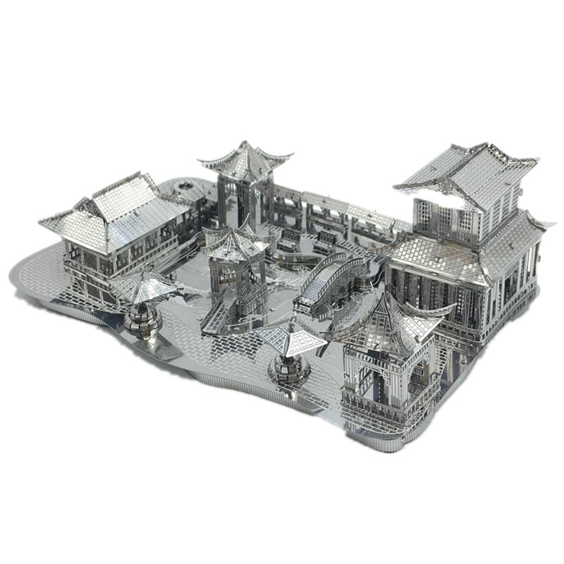 3D Metal Nano Puzzle China Suzhou Traditional Garden Building Diy 3D Model Kits Laser Cut Assemble Jigsaw Toys himeji castle 3d metal model metallic nano laser cut building puzzle educational diy assembling toy