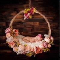 Для новорожденных фотографии цветок с вьющимся стеблем корзина кровать реквизит для малышей Фото для студийной съемки позирует деревянный