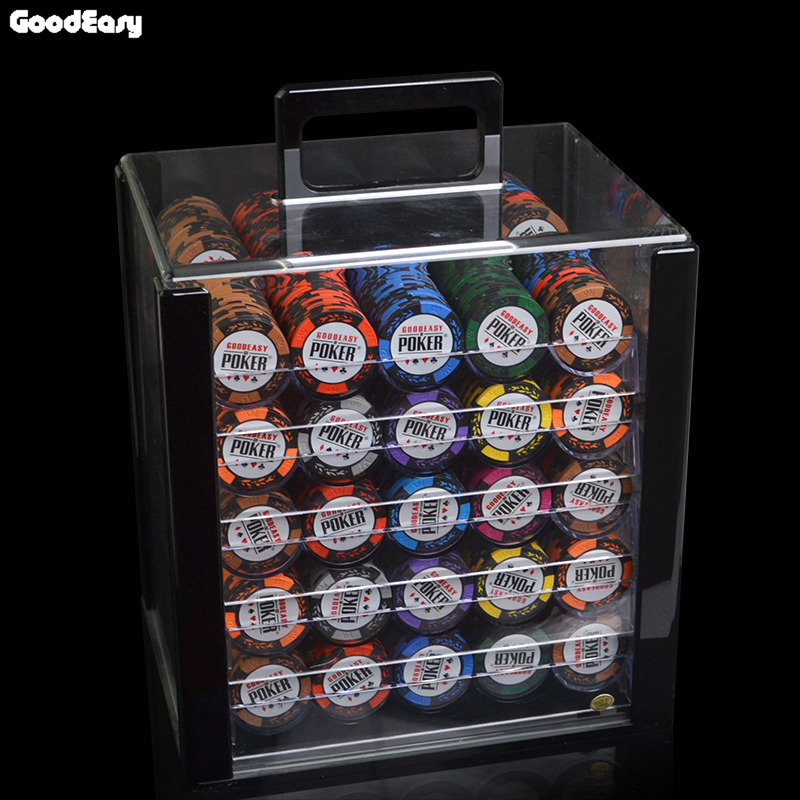 14g Clay Chips Sets With Acrylic Box Casino Crown POKER 14 Colors Texas Holdem Poker Chips Cheap Factory Price