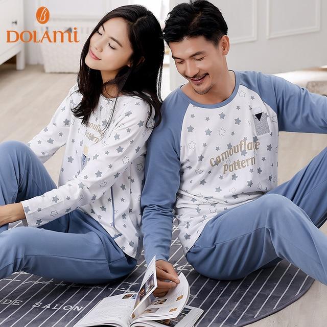 Мода Молодежные Звезды Пижамы Установить Осень С Длинным Рукавом Пуловер Хлопка Семья Соответствия Пара Пижамы Пижамы Для Женщин и Мужчин