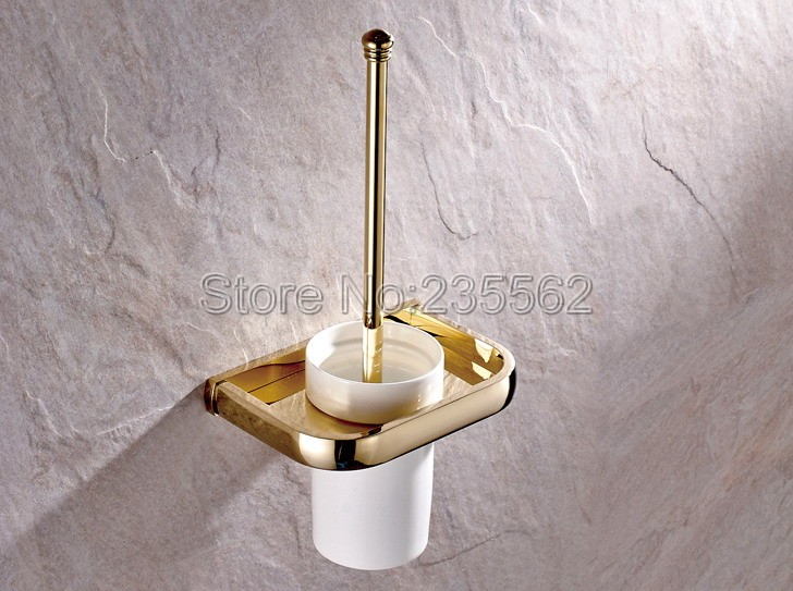 Gold Color Brass Wall Mounted Toilet Brush Holder with Ceramic Cup Set / Bathroom Access ...